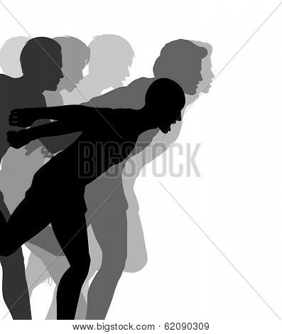 Editable vector illustration of a very close finish in a men's race