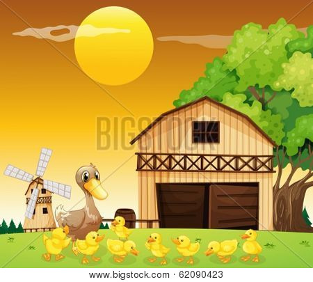 Illustration of a duck and her ducklings outside the farmhouse
