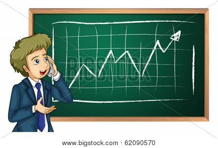 Illustration of a man using his cellular phone in front of the board on a white background