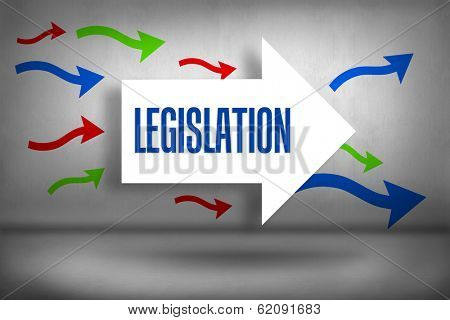 The word legislation against arrows pointing