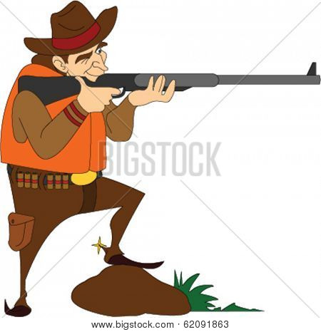 Hunter Shooting a Rifle