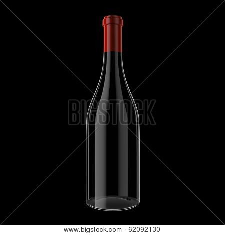 Wine bottle isolated on black background