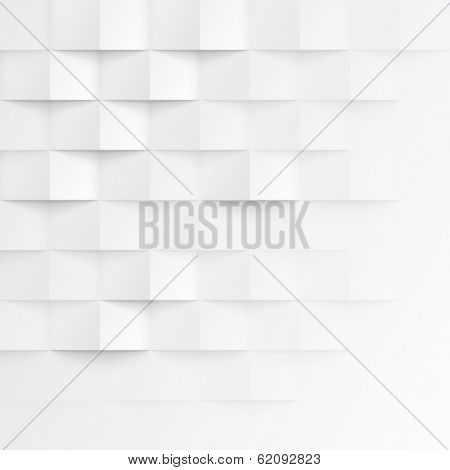 Abstract 3d white geometric background. White seamless texture with shadow. Simple clean white background texture. 3D Vector interior wall panel pattern.