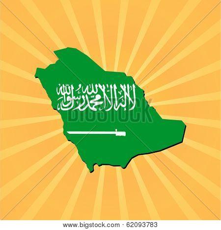 Saudi Arabia map flag on sunburst illustration