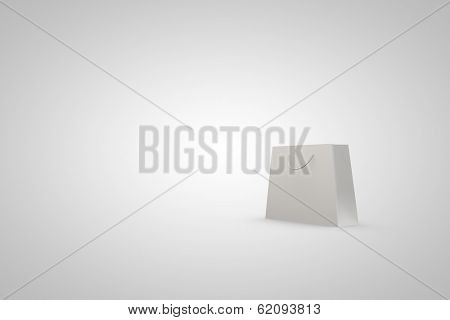 empty background with white bag in corner forming background space