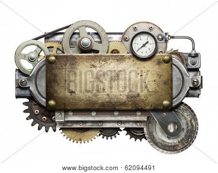 Stylized metal collage of mechanical device.  poster