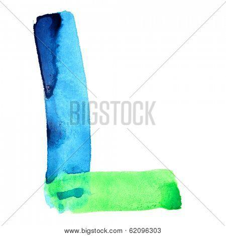 Letter L  - colorful watercolor alphabet