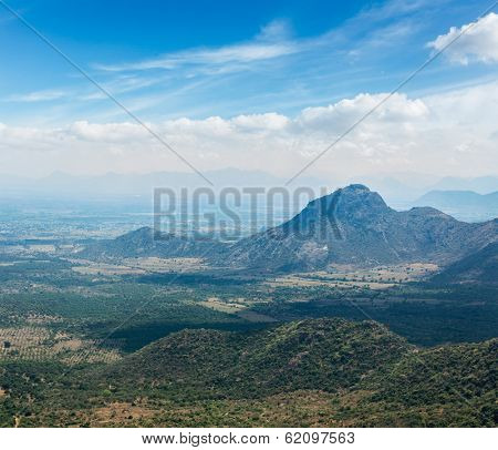 View of Western Ghats mountains. Tamil Nadu, India