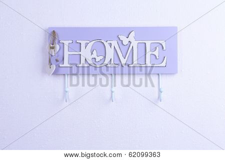 Key holder on white background