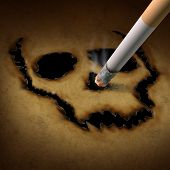 stock photo of cigarette-smoking  - Smoking danger concept as a cigarette burning a human skull symbol out of old grunge paper as a metaphor for toxic smoke exposure causing lung cancer and lethal health risks - JPG