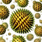 stock photo of allergy  - Pollen grains concept as a group of microscopic organic pollination particles of flowering plants flying in the air as a health care symbol of seasonal allergies and suffering from hay fever allergy - JPG
