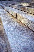Close up on granite stairs in perspective
