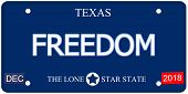 stock photo of texas star  - A fake imitation Texas License Plate with the word FREEDOM and The Lone Star State making a great concept - JPG