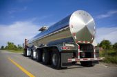 picture of fuel tanker  - Silver transport truck tanker on the road - JPG