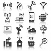 stock photo of antenna  - Wireless communication network business black icons set of wifi signal search cell tower and transmitter antenna isolated vector illustration - JPG