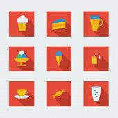 Flat icons for cafe