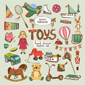 image of sled  - happy birthday toys set - JPG