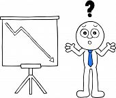 foto of going out business sale  - Hand drawn cartoon sad businessman with question mark and standing sales chart arrow going down symbolizing loss - JPG