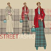 Fashionable Girl In  Long Skirt.options Ensemble.fashion Illustration