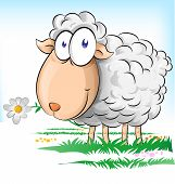 foto of spring lambs  - happy sheep cartoon whit flower on spring background - JPG