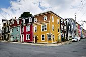 Colorful houses on street corner in St. John's, Newfoundland, Canada