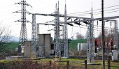 stock photo of transformer  - view of the transformer and high voltage distribution stations - JPG