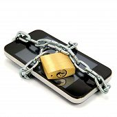 image of wiretap  - Smartphone With Chain And Padlock Isolated On White - JPG