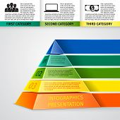 pic of pyramid  - Abstract 3d pyramid infographics design template with title categories and progress options vector illustration - JPG