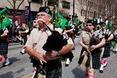 Bagpipes Corps Plays While Marching In St. Patrick's Parade