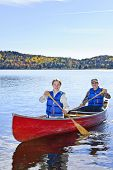 image of canoe boat man  - Father and daughter canoeing on Lake of Two Rivers - JPG