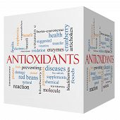 stock photo of enzyme  - Antioxidants 3D cube Word Cloud Concept with great terms such as foods prevent diseases and more - JPG