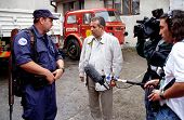 SARAJEVO, BOSNIA - APRIL 19: BBC chief war correspondent Martin Bell interviews a US volunteer firef