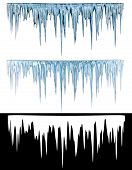 foto of icicle  - Blue cold icicles with an alpha channel - JPG