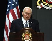 TBILISI, GEORGIA - AUGUST 4: United States Vice President Dick Cheney speaks after a meeting with Ge