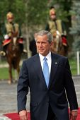 BUDAPEST, HUNGARY - JUNE 22: United States President George W. Bush  reviews a troop of Hungarian Hu