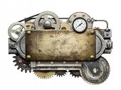stock photo of machinery  - Stylized metal collage of mechanical device - JPG