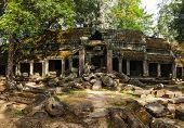 Travel Cambodia concept background - panorama of ancient ruins of Ta Prohm temple, Angkor, Cambodia
