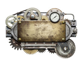 picture of steampunk  - Stylized metal collage of mechanical device - JPG