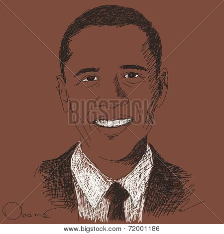 September 15, 2014 - Barack Obama president of United States. Hand drawn portrait, Vector illustration