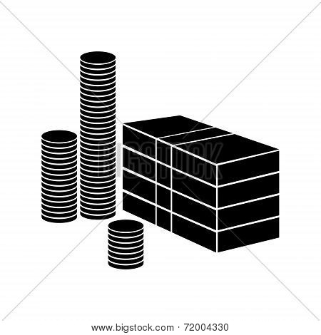 Money illustration with paper banknotes and coins vector.