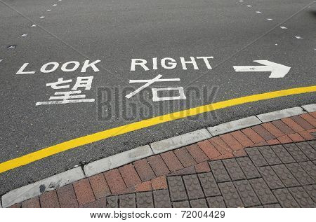 Look Right Road Sign