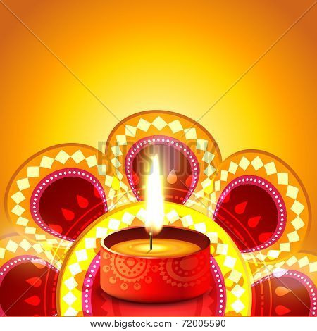 Vector shiny diwali diya background