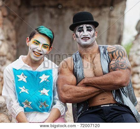 Strong Man With Cirque Clown