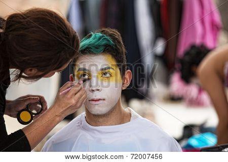 Makeup Artist Paining Clown Face
