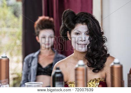 Cute Female In White Makeup