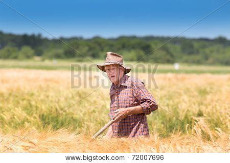 .worker In Barley Field