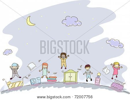 Illustration Featuring Kids in Sleepwear Having a Slumber Party