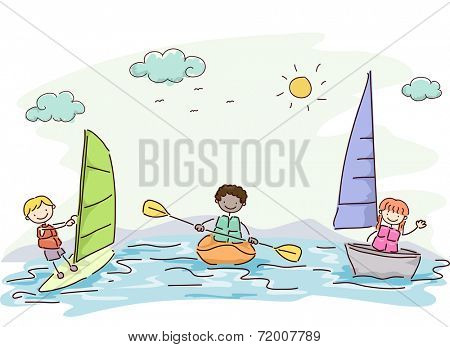 Illustration Featuring Kids Trying Out Different Water Sports