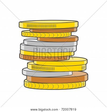 Golden, Silver And Bronze Coins Stacks Isolated On A White Background. Color Line Art. Retro Design.