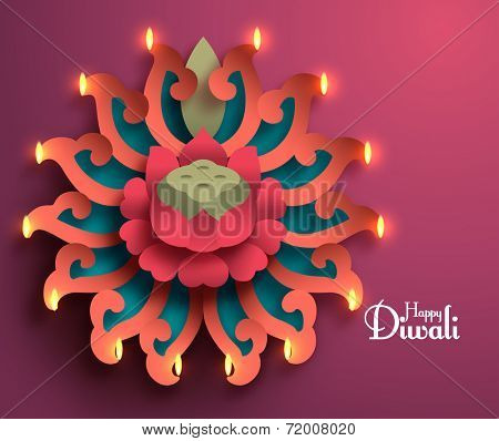 Vector Diwali Diya (Oil Lamp).